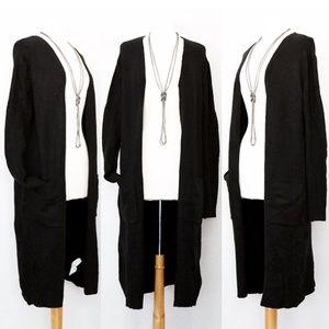 ZARAKNIT Black Long Duster Sweater Open Cardigan